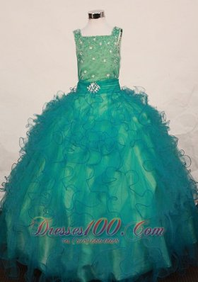 Square Teal Crystal Pageant Dress for Juniors Ruffles