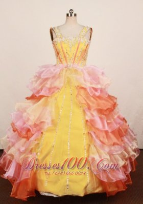 Colorful Ruffles Junior Miss Pageant Dresses Beaded Strap
