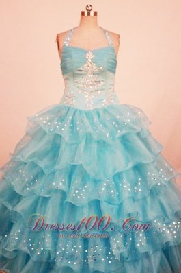 Cascading Ruffles Aqua Blue Pageant Gowns Beaded Halter