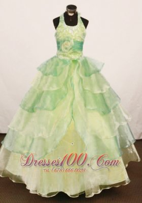 Halter Yellow Green Pageant Gowns Floral Sash Tiered