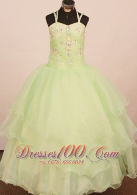 Kelly Straps Little Girl Pageant Dress Crystal Ball Gown