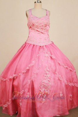Applqiues Rose Pink Sweet Sixteen Gowns Straps for Pageant