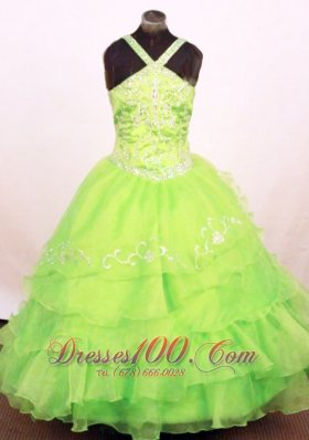 Layeres Spring Green Pageant Dress Embroidery Cross Straps