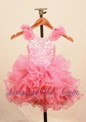 Floral Ruffles Baby Pink Baby Pageant Dress Scoop Sequin