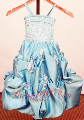 Bead Appliques Baby Blue Little Girl Pageant Dresses Strap