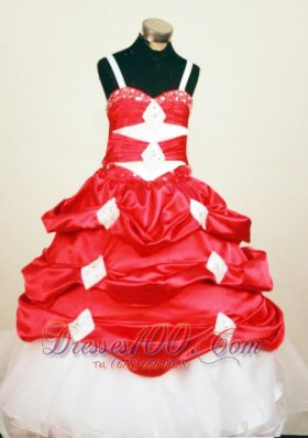 Pick-ups Red and White Pageant Gowns Spaghetti Straps
