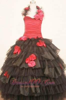 Floral Halter Sweet Sixteen Gowns Black and Red Ruffles