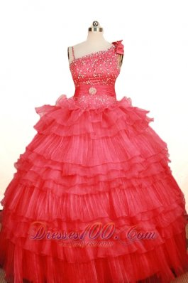 Asymmetrical Strap Coral Red Pageant Gown Tiered Sweet 15