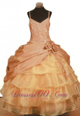 Floral Pleats Pageant Ball Gowns Straps Layered Beaded