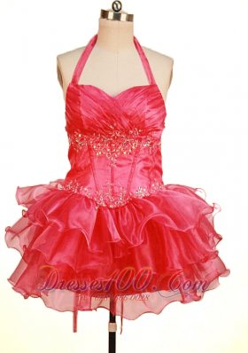 Halter Top Coral Red Pageant Dresses Sweetheart Mini-Length