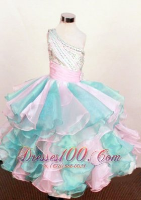 One Shoulder Pageant Gowns Colorful Beading Sash Ruffles