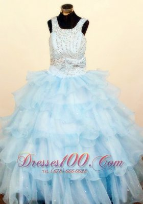 Bowknot Light Blue Pageant Dresses for Juniors Square