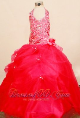 Beaded Crismon Red Pageant Ball Gowns Halter Floral