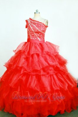 Ball Gown One Shoulder Pageant Dresses Rust Red Trimmed