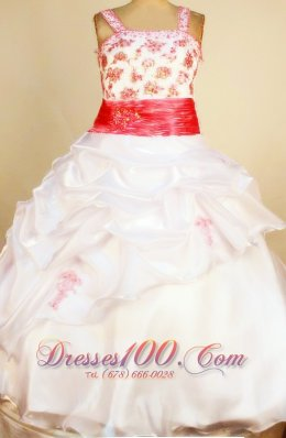 Sash White Little Girl Pageant Dresses Ball Gown Colored