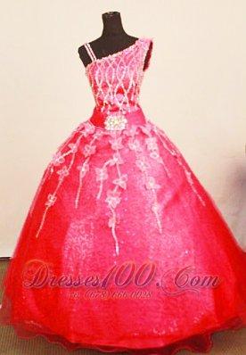 Asymmetrical Straps Pageant Dresses Coral Red Appliques