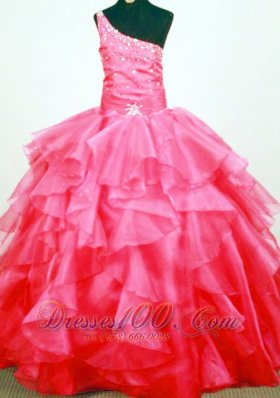 One Shoulder Ruffled Sweet Sixteen Gowns Coral Red Beaded