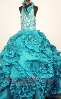 Halter Rolling Flowers Pageant Dresses Turquoise Applique