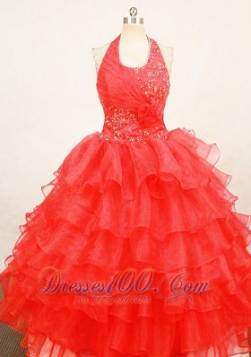 Ruffles Tomato Red Halter Sweet Sixteen Gowns for Teens