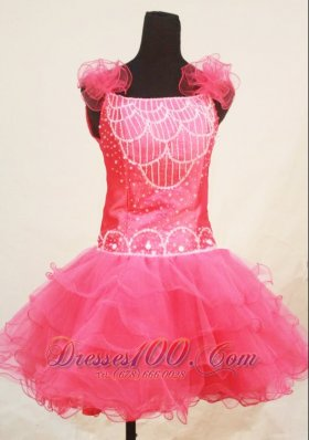Sweet Pink Straps Mini-length Little Girl Pageant Dresses