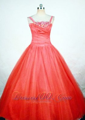 Strap Orange Red Sweet Fifteen Pageant Gowns Appliques