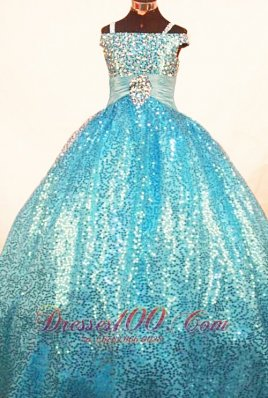 Paillette Aqua Blue Ball Gown Strap for Pageant Girls