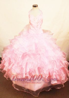 Halter Cascading Ruffles Baby Pink Pageant Dresses Lace up
