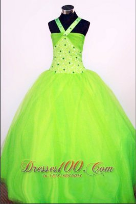 Cross Halter Spring Green Pageant Dresses Rhinestones