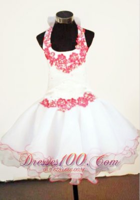 Appliques Halter Mini-length White Pageant Dresses for Girl