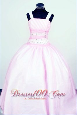 Sweet Light Pink Straps Baby Pink Pageant Dresses Customize