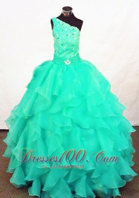 Medium Spring Green One Shoulder Ball Gowns for Pageants