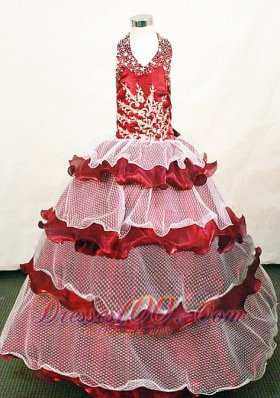 Tiered Halter Pageant Dresses Appliques for Juniors Special