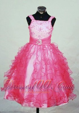 Ruffles Straps Hot Pink Little Girl Pageant Dresses Brooch