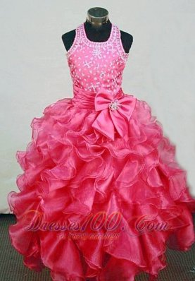 Hot Pink Bow Ruffles Pageant Dresses Halter for Little Girl