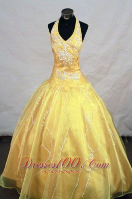 Yellow Halter Appliques Pageant Dresses for Teens 2013