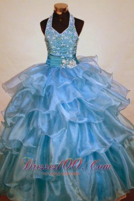 Corset Light Blue Junior Miss Pageant Dresses Sash Halter
