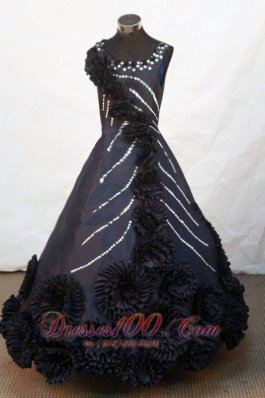 Handmade Flowers Scoop Sweet Sixteen Teenager Prom Gowns