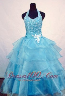 Custom Made Light Blue Halter Pageant Gowns Beading Layer
