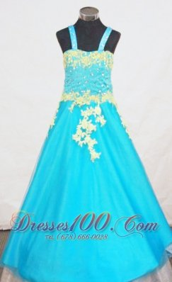 Aqua Blue Appliques Pageant Dresses Straps for Junior Girls