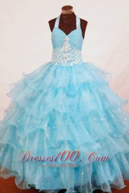 Light Blue Appliques Pageant Dresses Sweetheart Ruffles