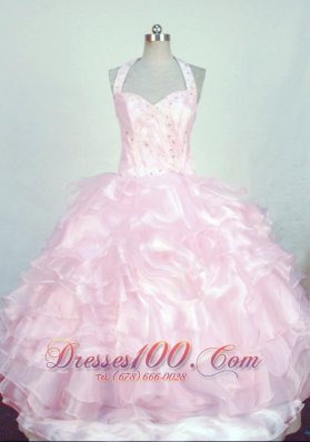 lHalter Baby pink Miss Teen Pageant Dresses with Ruffles