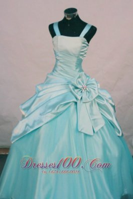 Custom Made Floral Straps Aqua Blue Junior Pageant Dresses