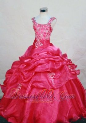 Appliques Straps Sweet 15 Birthday Pageant Dresses Ruffle