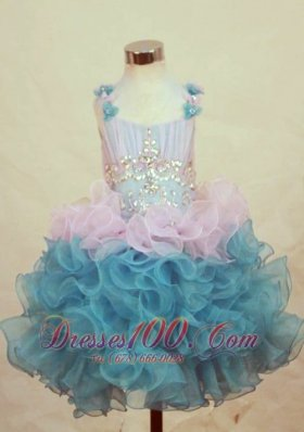 Straps Mini-length Little Girl Pageant Dresses Ruffled