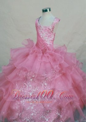 Scoop Pink Appliques Junior Pageant Dresses Organza