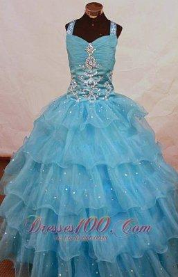 Aqua Blue Cascading Ruffles Pageant Gowns Appliques Halter