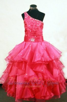 Beading One Shoulder Coral Red Pageant Ball Gowns Sash