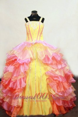 Ruffles Layer Colorful Ball Gown Junior Pageant Dresses