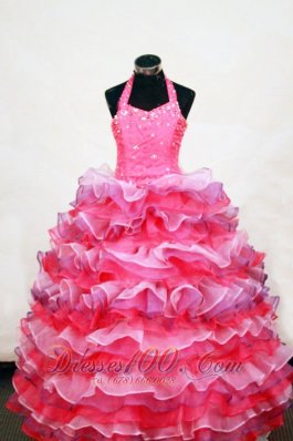 Halter Cascading Ruffles Ball Gown Pageant Girls Dress