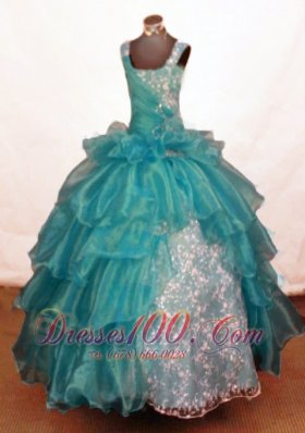 Teal Ruffles Ball Gown Junior Miss Pageant Gowns Beading - US$167.68